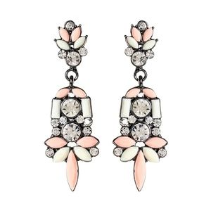 Austrian Crystal & Peach Holi Drop Earrings